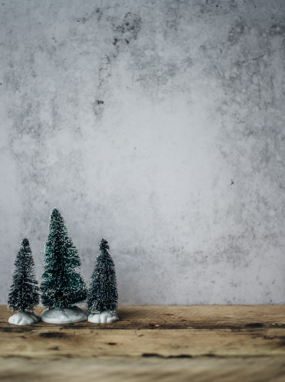 3 Small Artificial Christmas trees