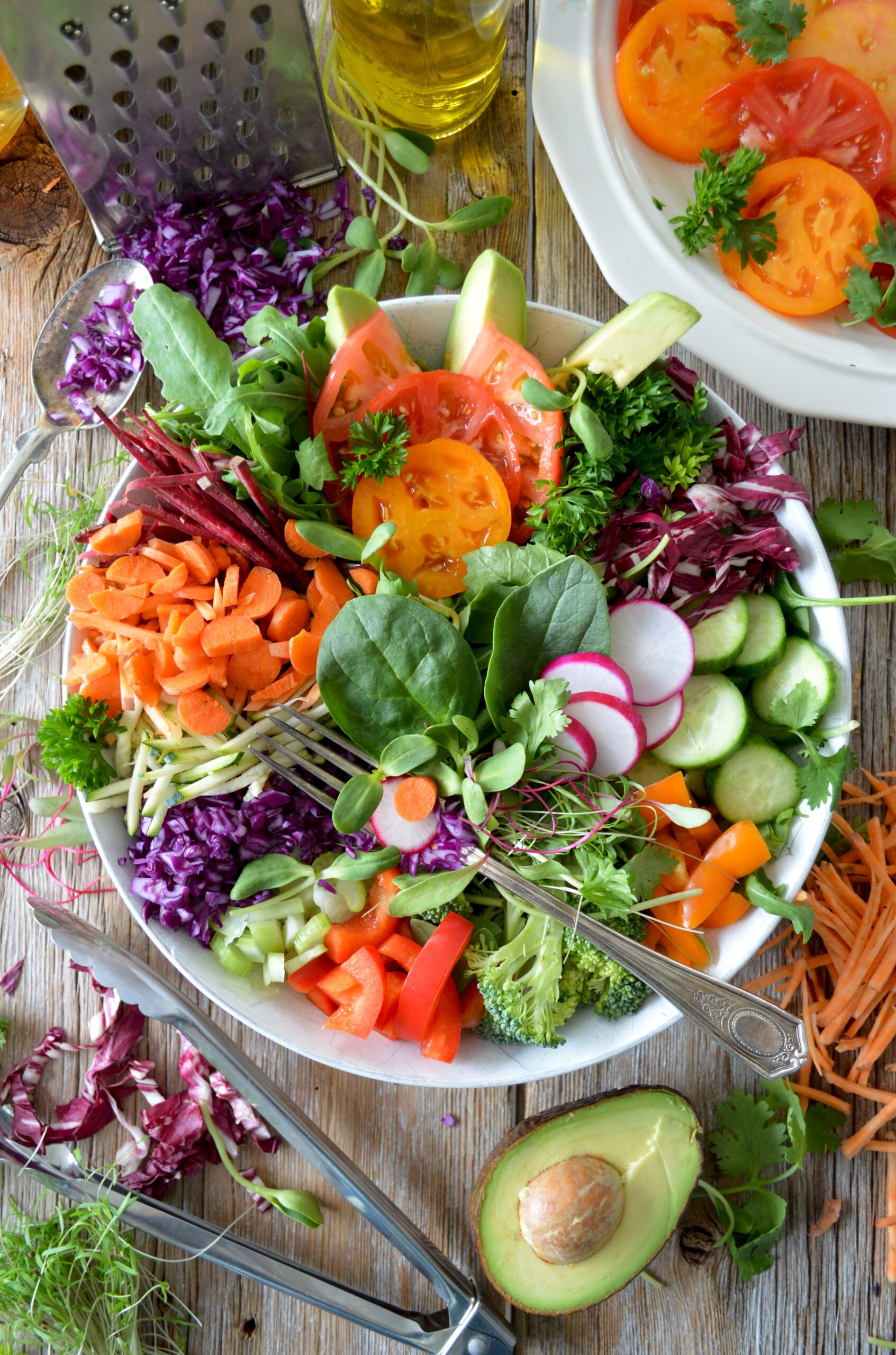 healthy salad in bowl with fork